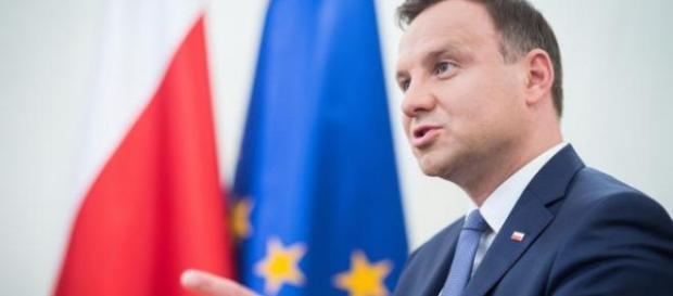Andrzej Duda podczas przemowy w Krynicy.