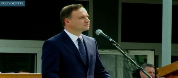 Prezydent w czasie przemówienia w Szczecinie
