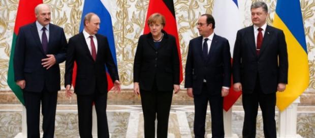 Los mandatarios en el acuerdo de Minsk