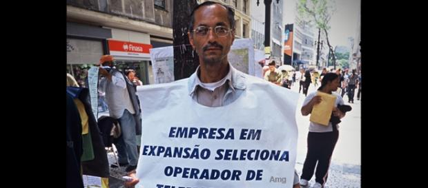 Hombre anuncio en Sao Paulo, 2000. Al Esnaporaz