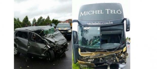 Ônibus e carro colidem. Foto: Divulgação / PRF