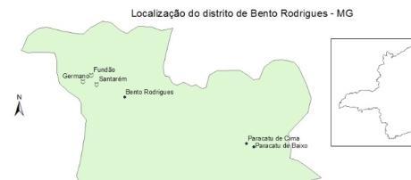 Localização das barragens em Mariana