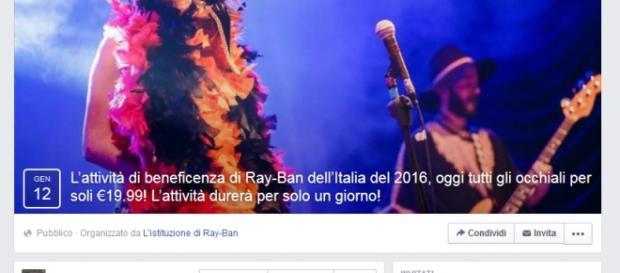 L'evento Facebook della Ray-ban è una truffa.