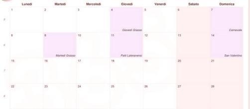 Calendario vacanze Carnevale 2016 scuola