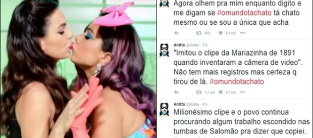 Anitta e Isis Valverde beijando em clipe