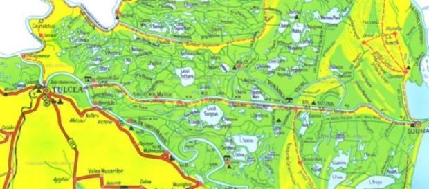 Delta Dunării- harta fizico-geografică