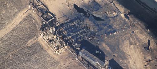 Foto aérea do local do vazamento em Porter Ranch