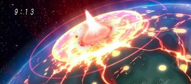 La tierra explotando en el capítulo 27
