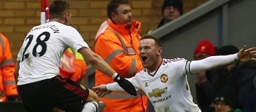 Rooney esulta dopo aver realizzato il gol vittoria