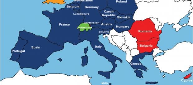 In blu l'area soggetta al trattato di Schengen