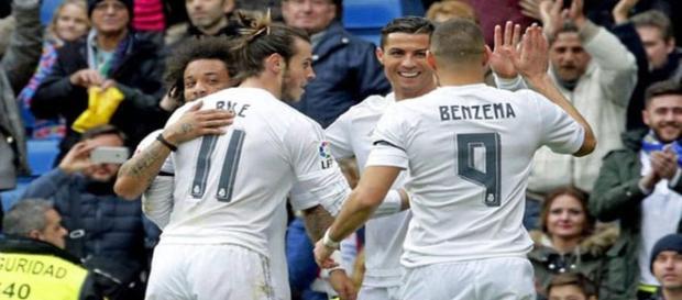 La BBC celebra uno de los goles ante el Sporting