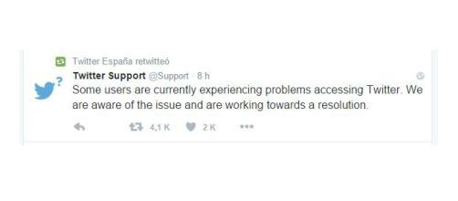 Twitter Support tuitea sobre la caída.