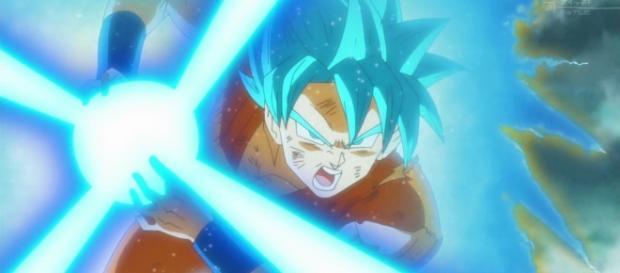 Goku trasformado en super saiyajin Blue