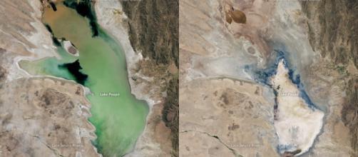 Proceso desaparicion Poopó (fotos de NASA)