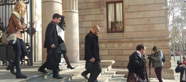 Javier Mascherano abandonando el juzgado el jueves
