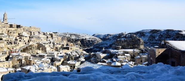 Matera, belvedere i sassi ricoperti dalla neve