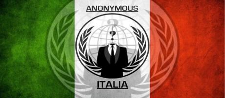 Una delle immagini su Facebook di Anonymous Italia