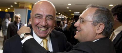 Galliani e Lotito ridono ad una riunione