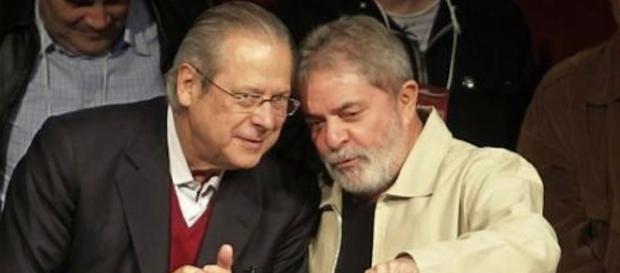 Em destaque, Lula e seu ex-ministro José Dirceu.
