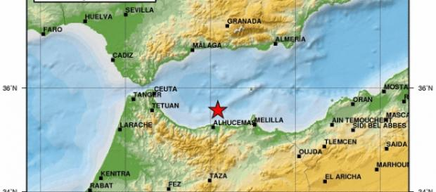 Mapa del epicentro del terremoto creado por el IGN
