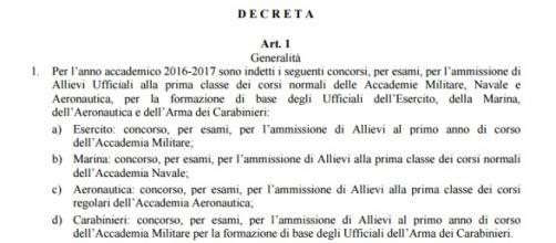 Concorso per carabinieri, esercito e marina 2016
