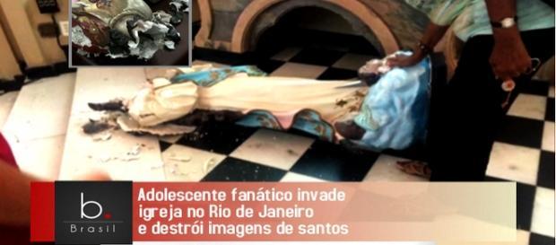 Jovem fanático destrói imagens na catedral