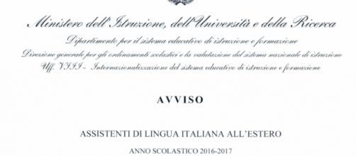Bando Miur per assistenti lingua italiana 2016