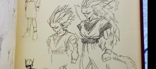 Boceto de Goku en fase 3 del super saiyajin