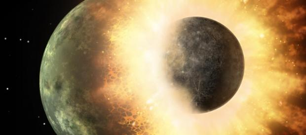 Terra se chocou com outro mundo, originando a Lua.