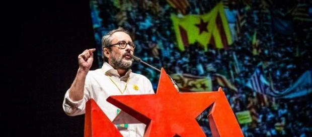 Antonio Baños, actual líder de la CUP, en un mítin