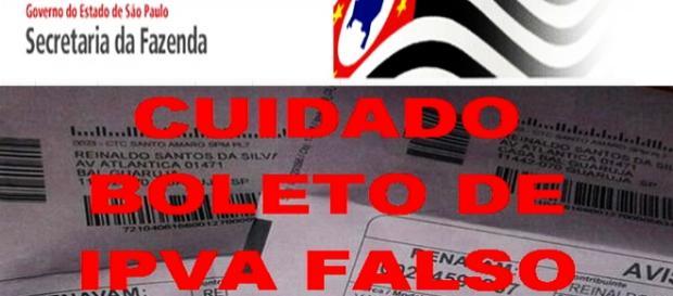 Boleto de IPVA 2016 falso entregue pelo correio