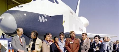 Space Shuttle Enterprise with Star Trek Cast 1976