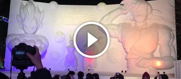 Esculturas Gigantesde Nieve de Dragon Ball Super.