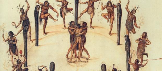 Taniec Indian Secotan, autor: John White, 1585 r.