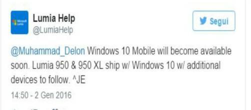 L'annuncio dell'aggiornamento a Windows 10 Mobile