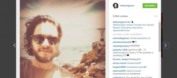 Kit Harington no Rio de Janeiro - instagram