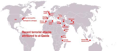 Mapa de los ataques recientes de Al-Qaeda