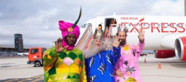 Los Reyes Magos recién llegados a Madrid.
