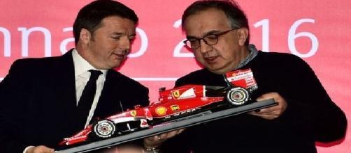 Matteo Renzi con Marchionne nel giorno dell'ipo