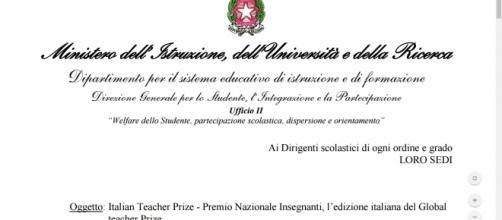 Miur, Premio Nazionale al miglior docente