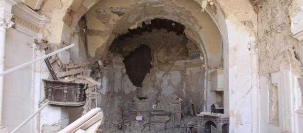 La chiesa di San Giovanni ad Amatrice, pesantemente danneggiata dal terremoto