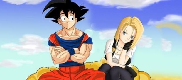 Goku y 18 enamorados en la nube