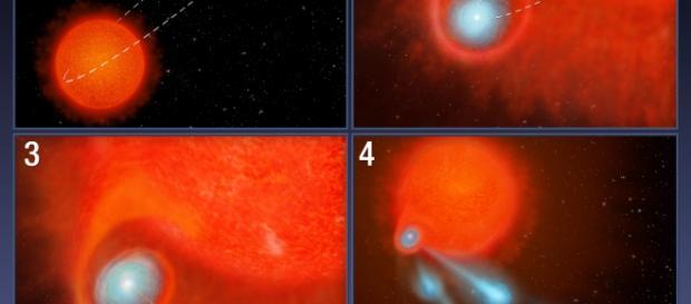 La bolas de plasma expulsada por una estrella lejana