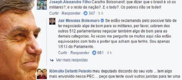 Bolsonaro faz acordo com Temer para que os militares não sejam prejudicado com a PEC 241