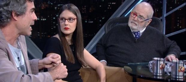 Jô Soares sociologa Esther Solano e os jornalistas Bruno Paes e William Novaes