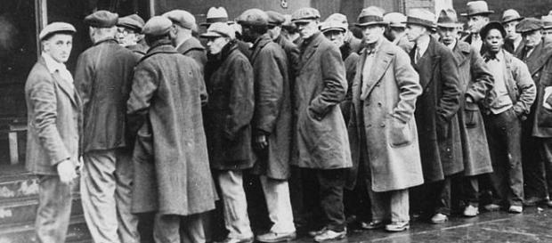 Unemployed men outside a soup kitchen in Depression-era Chicago, Illinois, the US, 1931. Courtesy: Wikimedia Commons