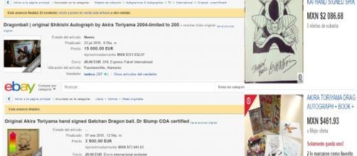 Capturas eBay Akira Toriyama autografos