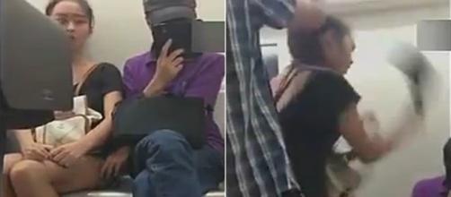 Na primeira cena, é possível ver o momento em que o homem passa a mão na mulher e depois a reação dela