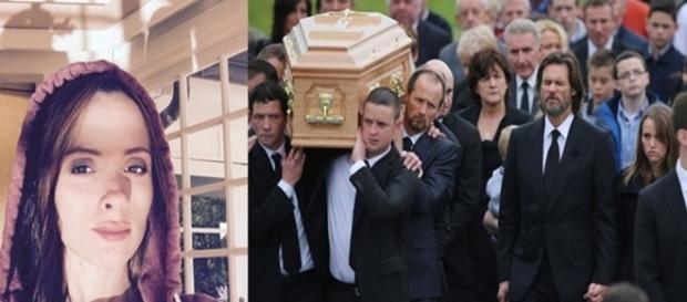 Em uma imagem, a jovem ex-namorada do ator que tirou a própria vida, e na outra, o dia de seu funeral