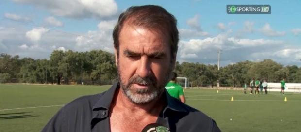 Eric Cantona being interviewed for Sporting Lisbon TV Channel.